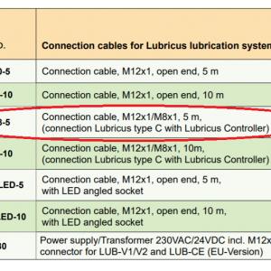 Lubricus Type C , M12x1/M8x1, Connection Cable 5 m