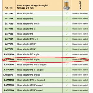 Lubricus Hose Adapter M6 Angled
